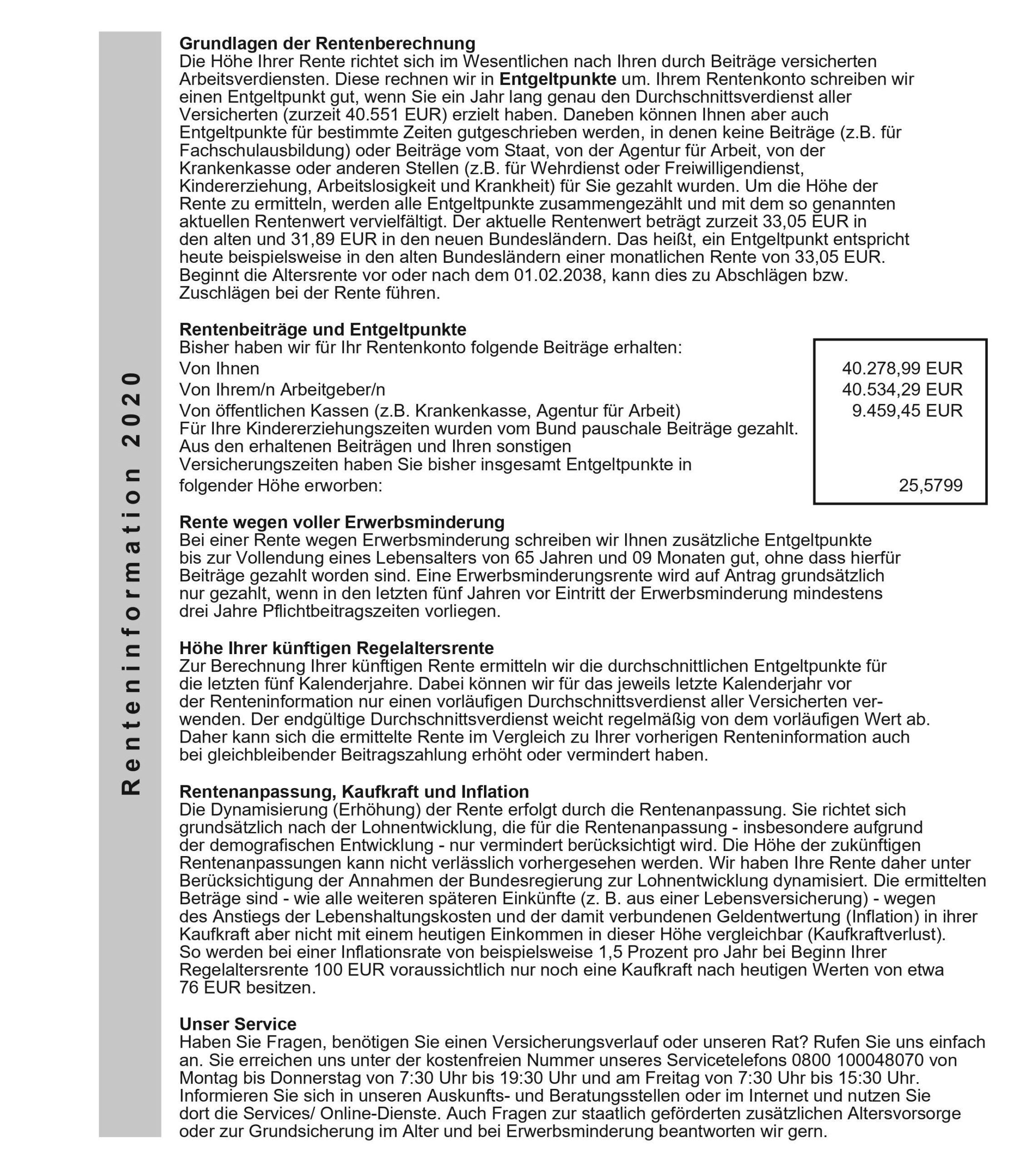 Muster Renteninformation 2020, Seite 2