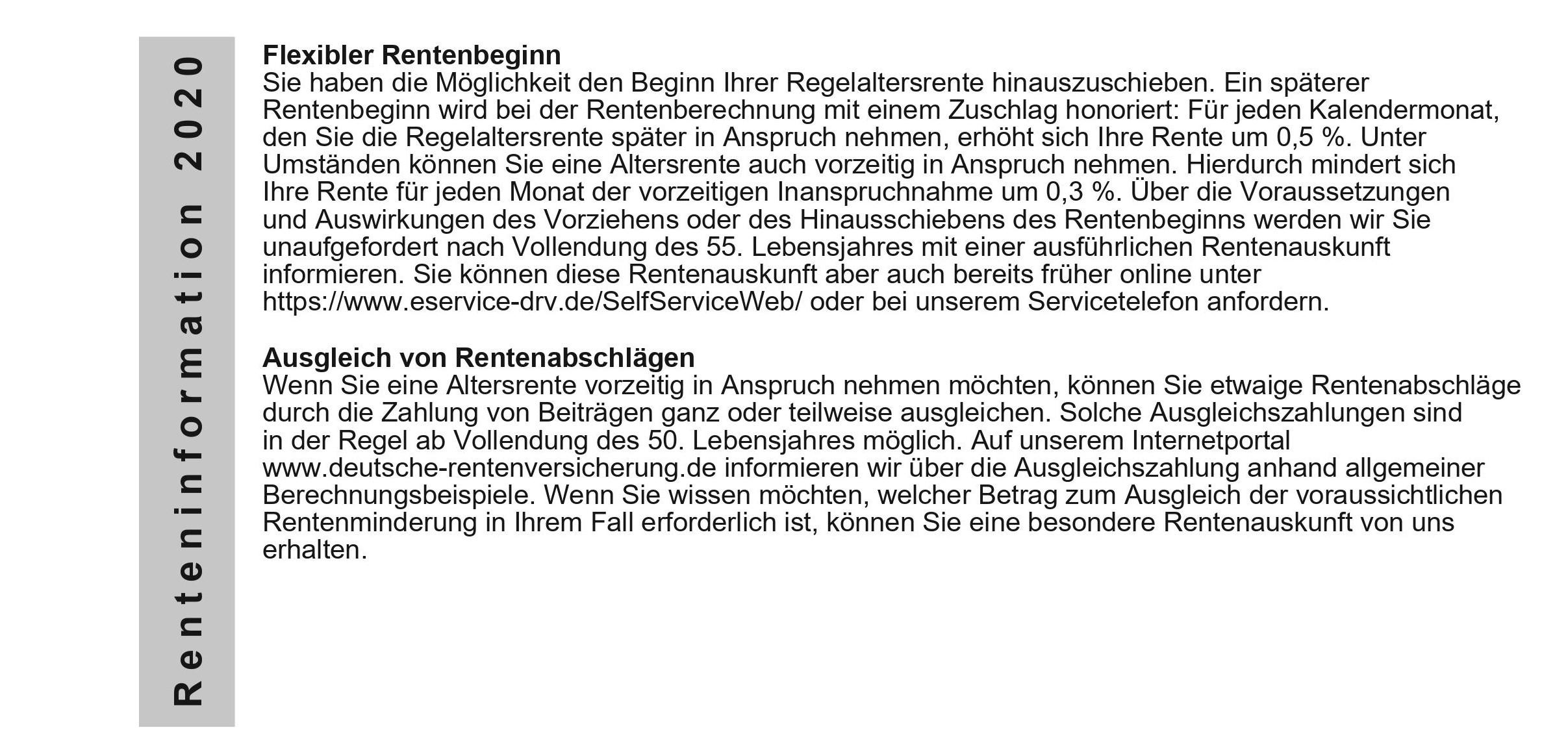Muster Renteninformation 2020, Seite 3